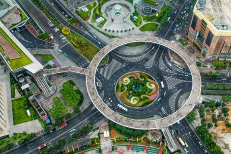 Circular Pedestrian Bridge in Lujiazui, China