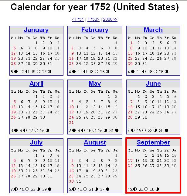 Calendar 1752 September | New Calendar Template Site